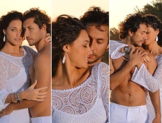 """Em """"Flor do Caribe"""",  Lino e Taís flertam durante ensaio fotográfico"""