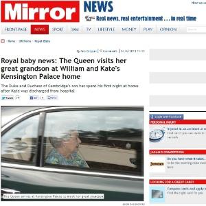Tabloide Mirror publica foto da Rainha Elizabeth 2ª visitando o bisneto