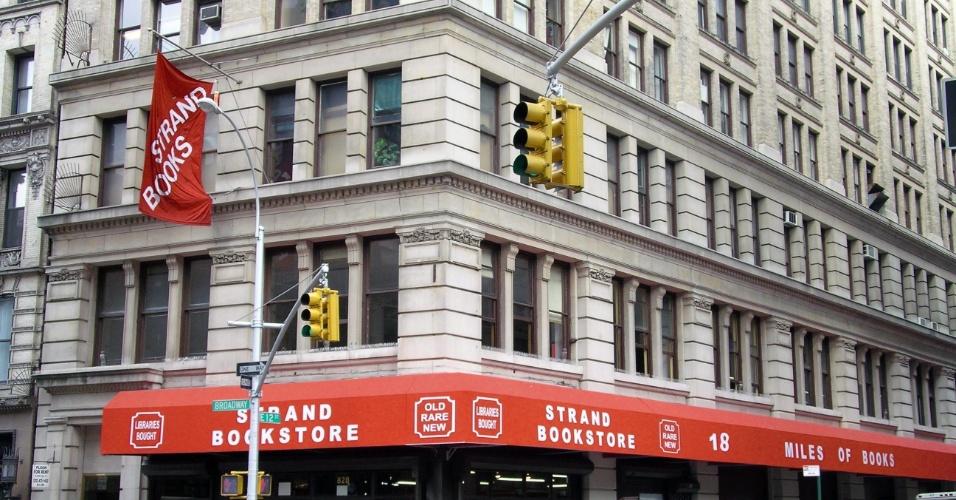 Fachada da livraria Strand, em Nova York