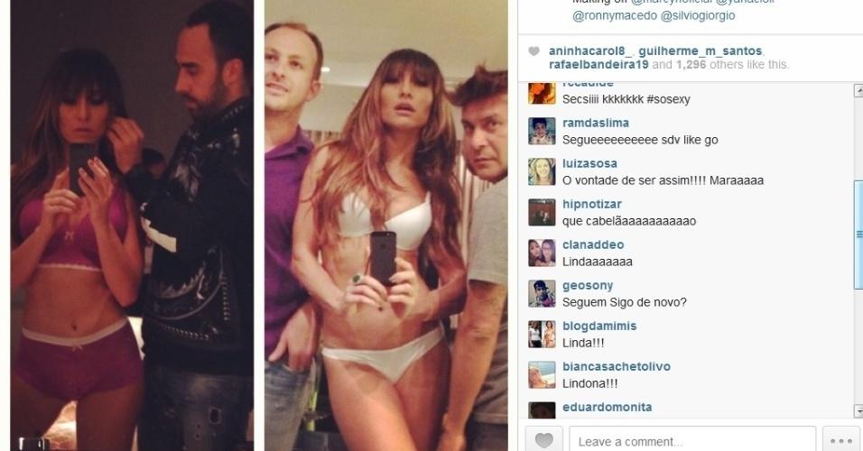 """25.jul.2013 - Sabrina Sato mostrou os bastidores de um ensaio de lingerie feito nesta quinta-feira. A repórter do """"Pânico da Band"""" exibiu a boa forma e recebeu elogio dos seguidores"""