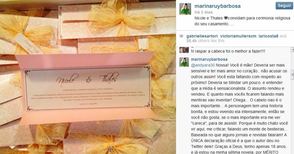 Marina Ruy Barbosa rebate crítica de fã pelo Twitter