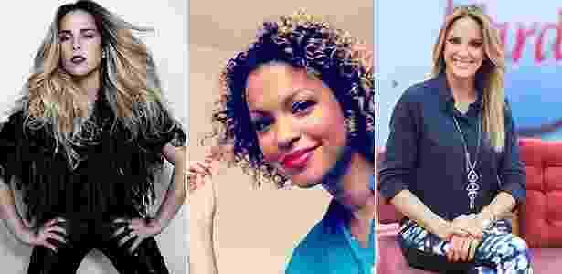 A jaqueta de couro é uma das peças eleitas por Wanessa (esq.), Eliana e Ticiane Pinheiro (dir.). Cinthya Rachel não dispensa a utilitária maxibolsa preta - Divulgação