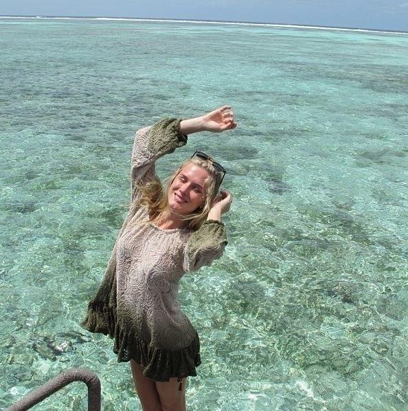 26.jul.2013 - Fiorella Mattheis curte lua de mel nas Ilhas Maldivas