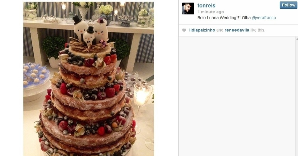 26.jul.2013 - O maquiador Ton Reis divulgou uma imagem do bolo de casamento de Luana Piovani e Pedro Scooby