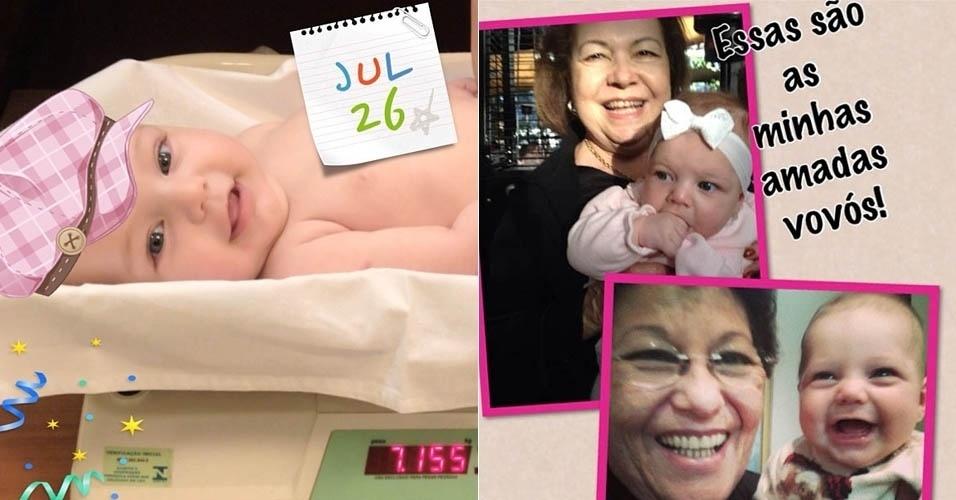 26.jul.2013 - Sheila Mello comemora os quatro meses da filha e o Dia da Avó