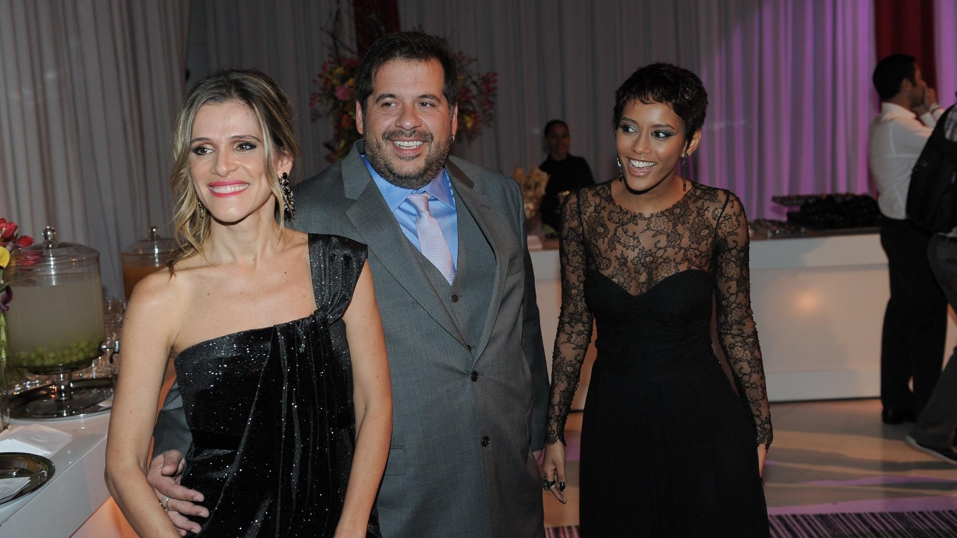 27.mar.2013 - Ingrid Guimarães, Leandro Hassum e Taís Araújo na festa de lançamento da grade de programação da Globo, no Credicard Hall, em São Paulo