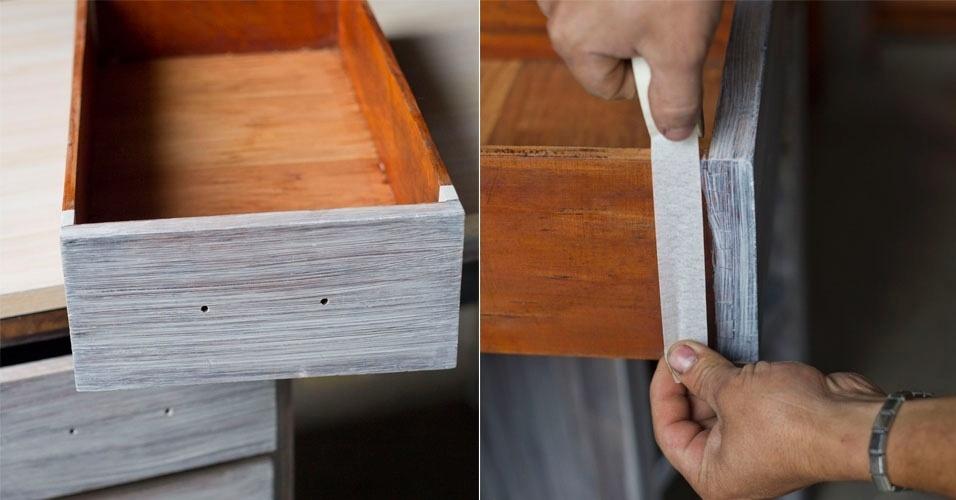 Antes de começar a pintura das gavetas, proteja as partes que não serão pintadas com fita crepe