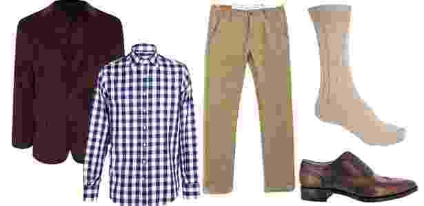 Sugestão de combinação tradicional, de maneira casual e elegante. Aqui, a meia acompanha a cor da calça, quando forem em tom mais claro que o blazer - Divulgação