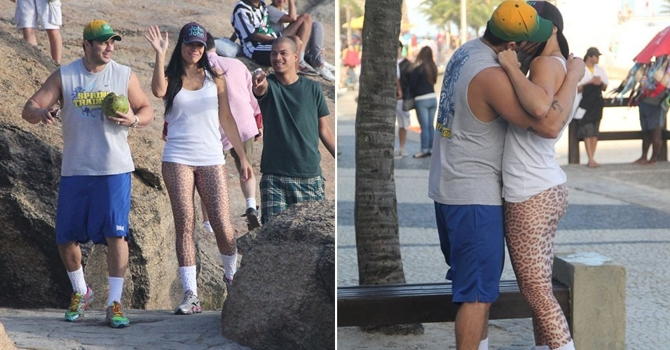 27.jul.2013 - Klebber Bambam e a ex-BBB Joseane Oliveira são vistos aos beijos
