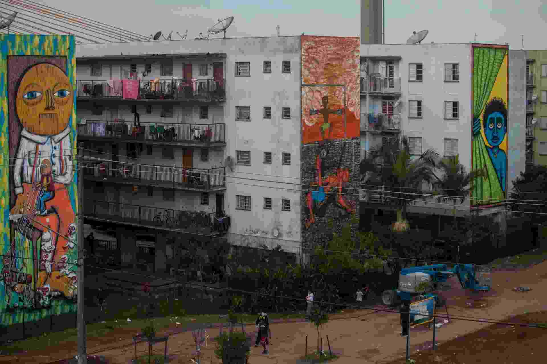 27,jul.2013 - Quatro grafiteiros estão mudando a cara do Conjunto Residencial Parque do Gato, no Bom Retiro - Victor Moriyama/UOL