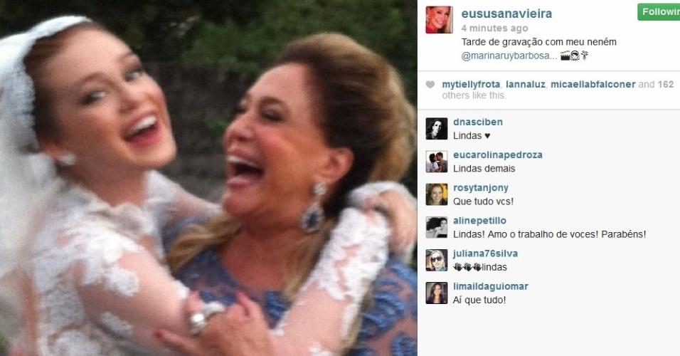 30.jul.2013 - Susana Vieira grava cena com Marina Ruy Barbosa vestida de noiva para