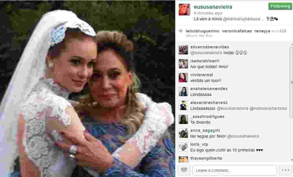 """30.jul.2013 - Susana Vieira grava cena com Marina Ruy Barbosa vestida de noiva para """"Amor à Vida"""" - Reprodução/Instagram"""