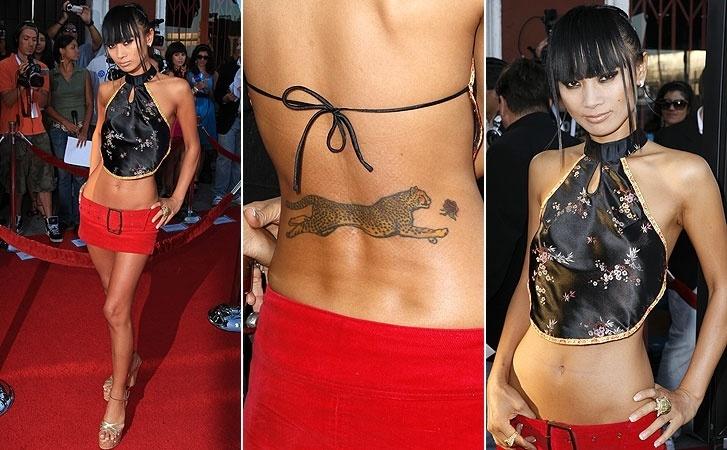 """A atriz de """"Lost"""" Bai Ling tem um guepardo e uma pequena flor tatuados nas costas"""
