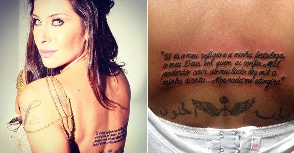 """A ex-panicat Lizi Benites tatuou um um trecho da Bíblia: """"Tu és o meu refúgio e minha fortaleza, o meu Deus em quem eu confio. Mil poderão cair ao meu lado, dez mil à minha direita... Mas nada me atingirá"""""""