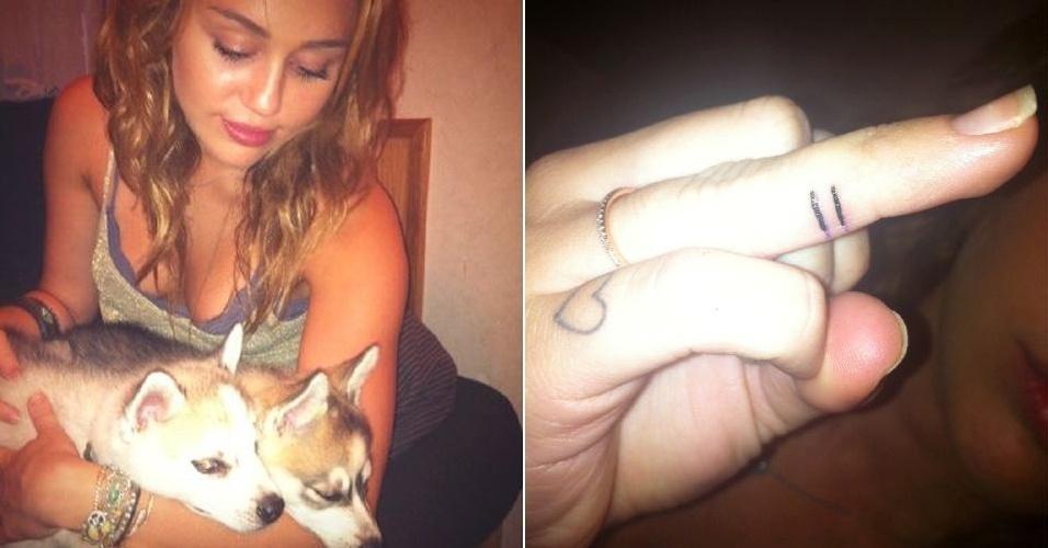 """Em apoio ao casamento gay, a cantora e atriz Miley Cyrus exibiu em seu Twitter uma tatuagem em um de seus dedos (direita) e escreveu: """"Todo amor é igual"""""""