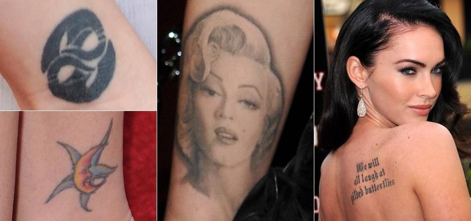 """Megan Fox chegou a ter oito espalhadas pelo corpo, mas decidiu apagar a que tem no braço direito, com o rosto de Marilyn Monroe, por não querer """"atrair esse tipo de energia negativa em minha vida"""""""