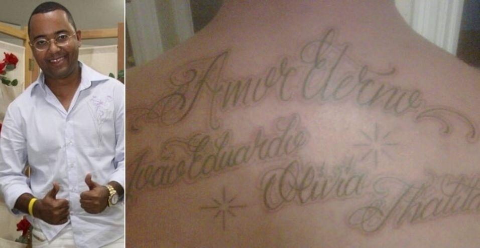 O sambista Dudu Nobre, ex de Bombom, tatuou os nomes dos filhos Olívia, Thalita e João Eduardo nas costas