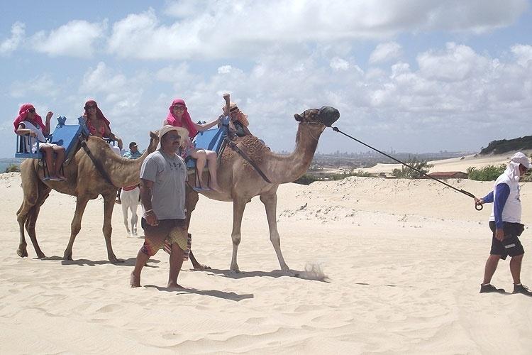 Nos passeios de dromedário, em Genipabu, turistas usam lenços na cabeça para se protegerem do sol
