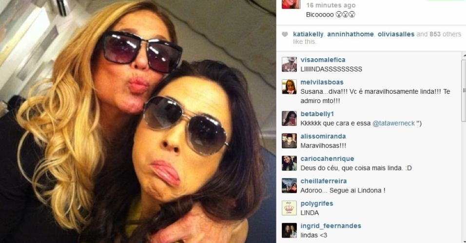 1.ago.2013 - Susana Vieira tieta Tatá Werneck nos bastidores de