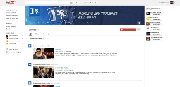 Reprodução da página do canal internacional do grupo Porta dos Fundos, o Backdoor - Reprodução
