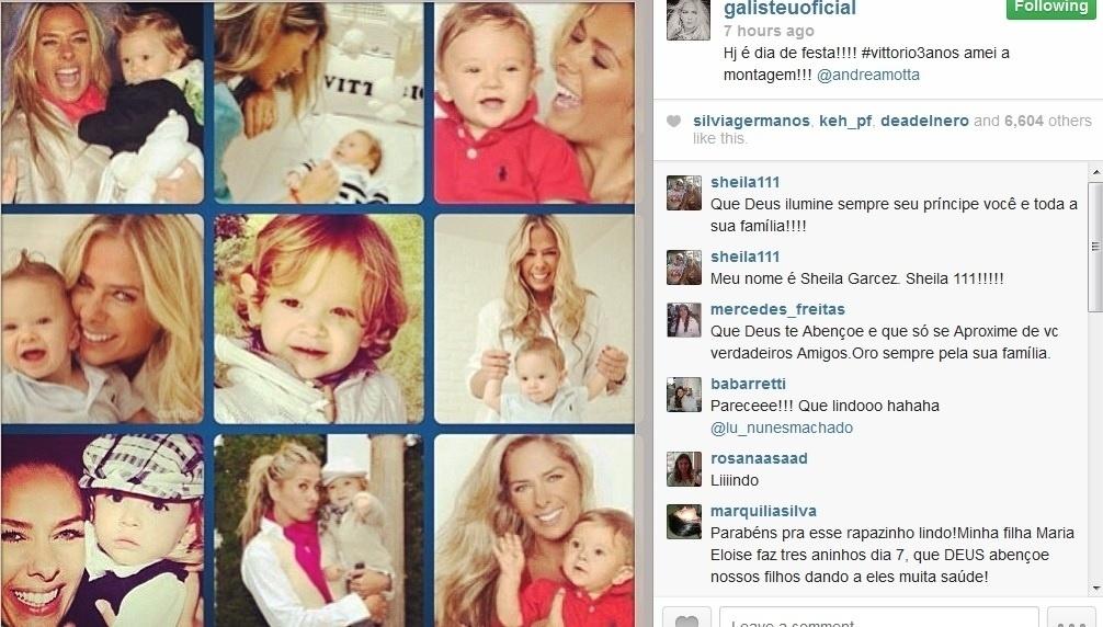 05.ago.2013- Adriane Galisteu comemorou o aniversário do filho pelo Instagram