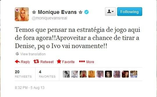 06.ago.2013 - Monique Evans manifestou sua torcida por Ivo Meirelles no Twitter