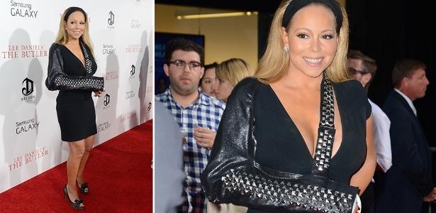 """O modelo de tipoia mais recente usado por Mariah Carey é a de couro com aplicação de tachas, exibido ontem (5) durante a première do filme """"The Butler"""" - Grosby Group"""