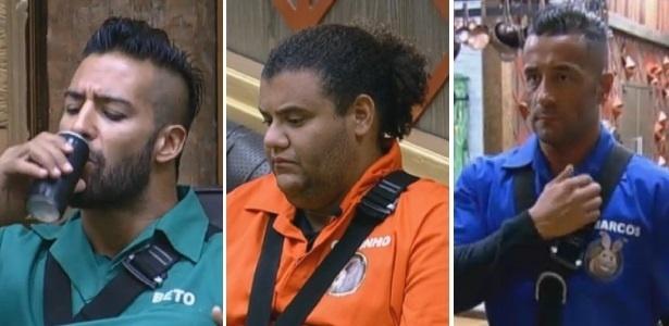07.ago.2013 - Beto, Gominho e Oliver se preparam para disputar Prova da Chave