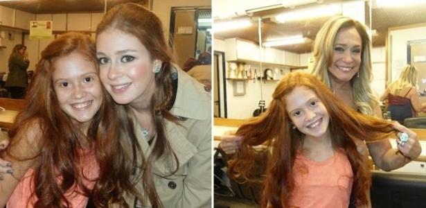 6.ago.2013 - Marina Ruy Barbosa e Susana Vieira posam para foto com a atriz-mirim Laryssa Marques, que será Nicole mais jovem