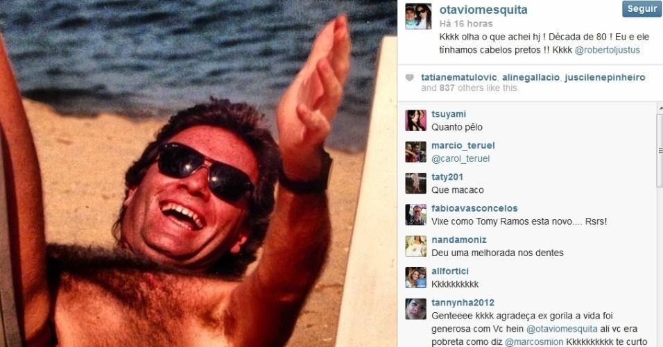 7.ago.2013 - Otávio Mesquita fez uma brincadeira com o amigo Roberto Justus e divulgou uma foto do apresentador na década de 80.