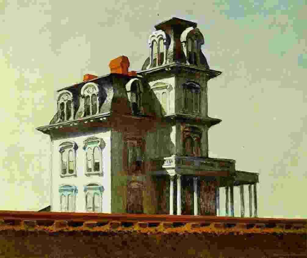 """A obra """"House by the Railroad"""" (1925), de Edward Hopper, que integra a exposição """"American Modern: Hopper to O'Keefe"""" - Reprodução"""