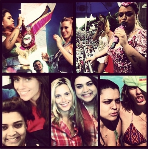 8.ago.2013 - A atriz Carolina Dieckmann publicou em seu Instagram diversas montagens de fotos dela com a amiga Preta Gil, em homenagem aos 39 anos da cantora.