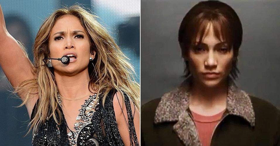 A cantora Jennifer Lopez exibiu um corte radical nas madeixas no filme