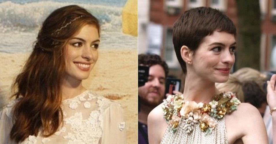 """Anne Hathaway teve de cortar as longas madeixas castanhas para dar vida à prostituta Fantine na adaptação cinematográfica """"Os Miseráveis"""", baseada no clássico de Victor Hugo"""