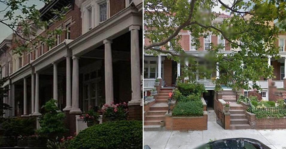 """A casa da tia May e do tio Ben no filme """"O Espetacular Homem-Aranha"""" e a construção no Brooklyn usada para as filmagens"""