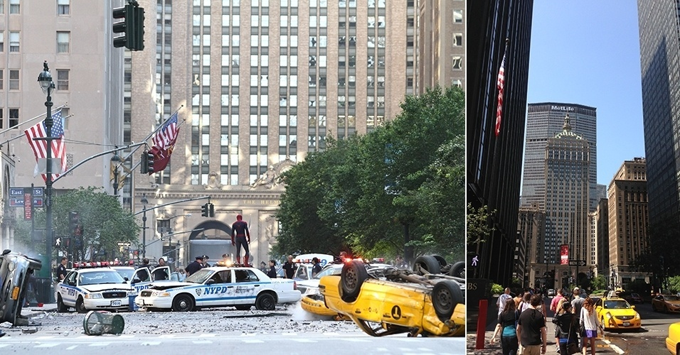 """A equipe de """"O Espetacular Homem-Aranha 2"""" filmando na Park Avenue, em Nova York, e a avenida em um dia normal"""