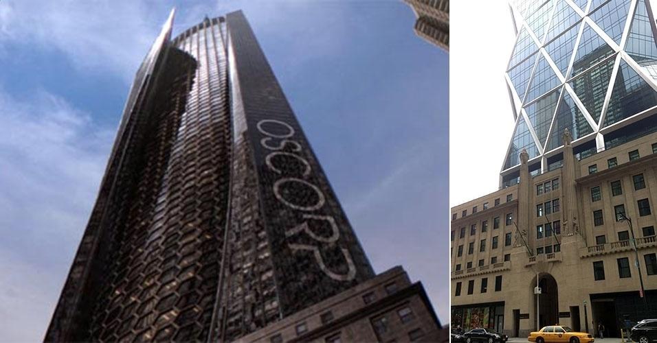 """A torre da Oscorp em """"O Espetacular Homem-Aranha"""" e a torre Hearst, edifício real de Nova York, usado para as filmagens da franquia"""