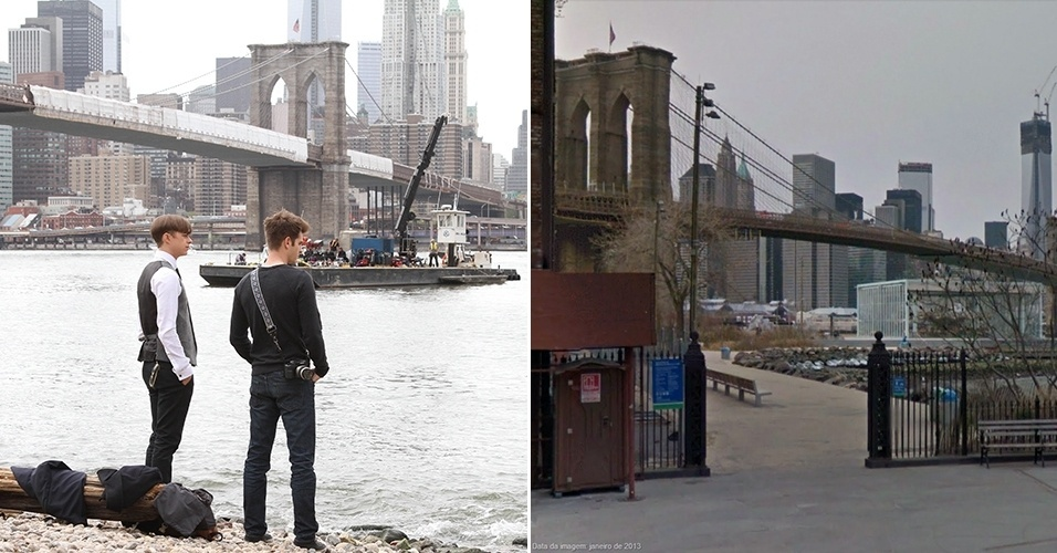 "Andrew Garfield e Dane DeHaan filmam ""O Espetacular Homem-Aranha 2"" às margens do East River, no Brooklyn, e uma vista do local"
