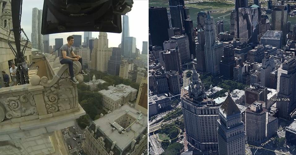 """Andrew Garfield pendurado no alto do prédio da prefeitura de Nova York em vídeo publicado por Marc Webb, diretor de """"O Espetacular Homem-Aranha 2"""", e mapa do local"""