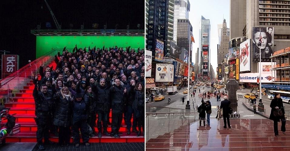 """Equipe de """"O Espetacular Homem-Aranha 2"""" em set em Long Island reproduzindo a Times Square e a praça real de Nova York"""