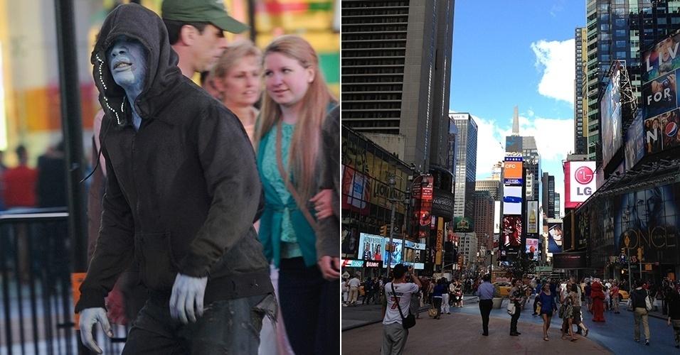 """Jamie Foxx filmando """"O Espetacular Homem-Aranha 2"""" na Times Square e a praça de Nova York num dia comum"""