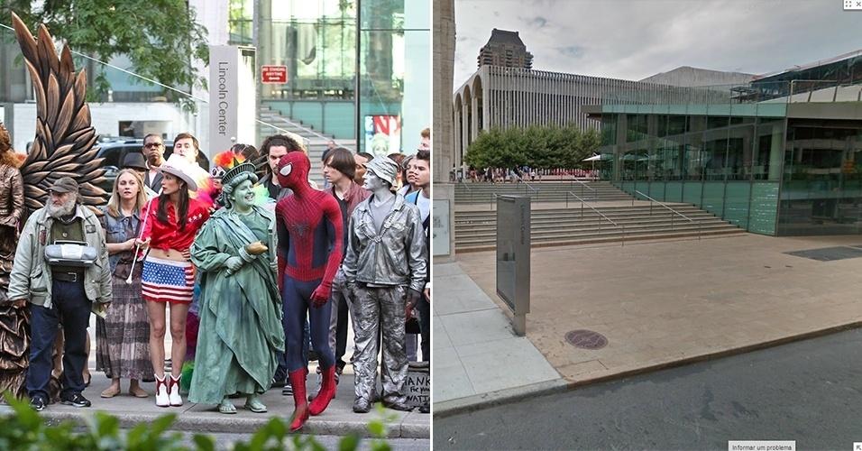 """O Homem-Aranha se confunde entre artistas de ruas durante filmagem de """"O Espetacular Homem-Aranha 2"""" no Lincoln Center, e o prédio em um dia comum"""