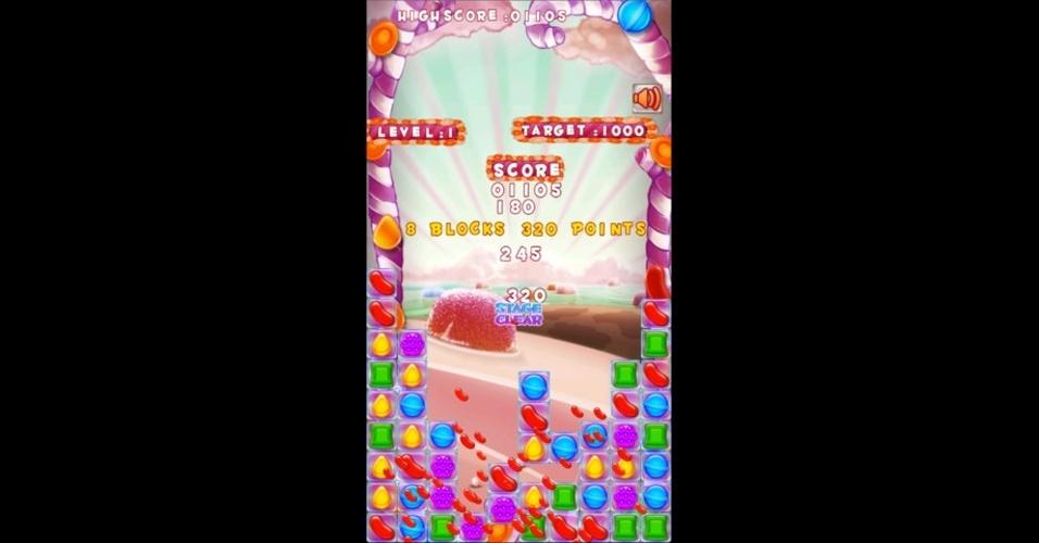 """""""Candizzle"""" é mais um game em que deve combinar os alimentos para eliminá-los. Disponível para iOS."""