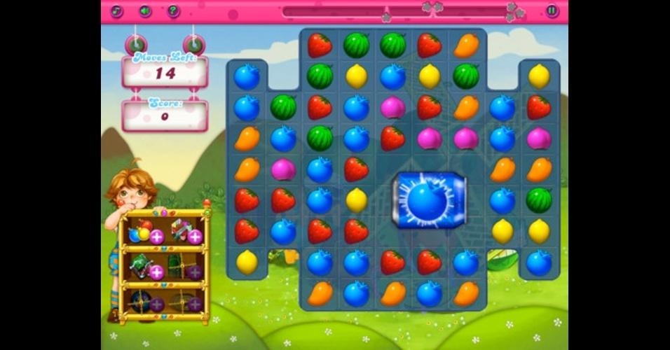 """Em """"A+Fruit Matching"""", para iOS, você deve combinar as frutas para fazer pontos."""