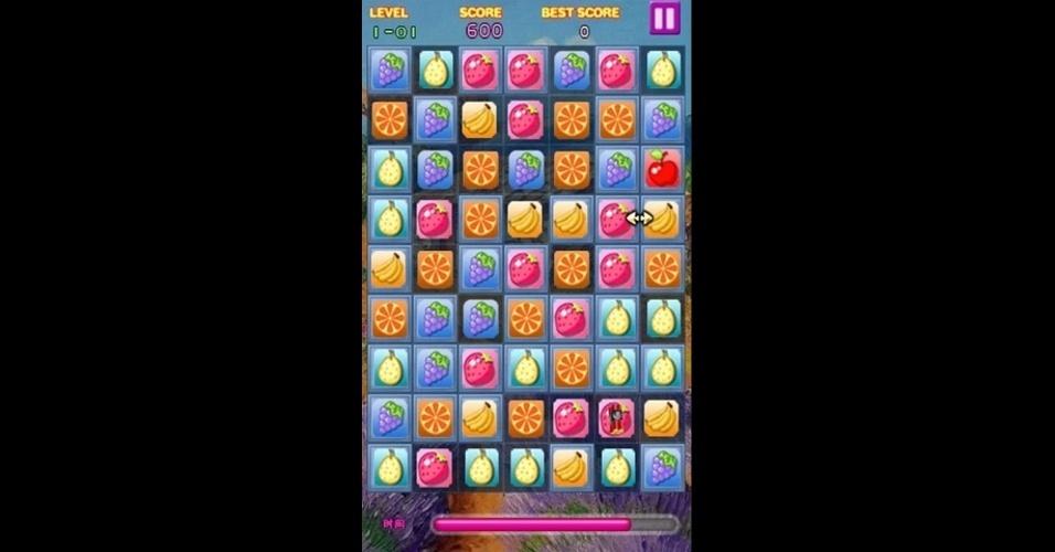 """Em """"Candy Fruit"""", para Android, você combina as frutas para avançar no jogo."""