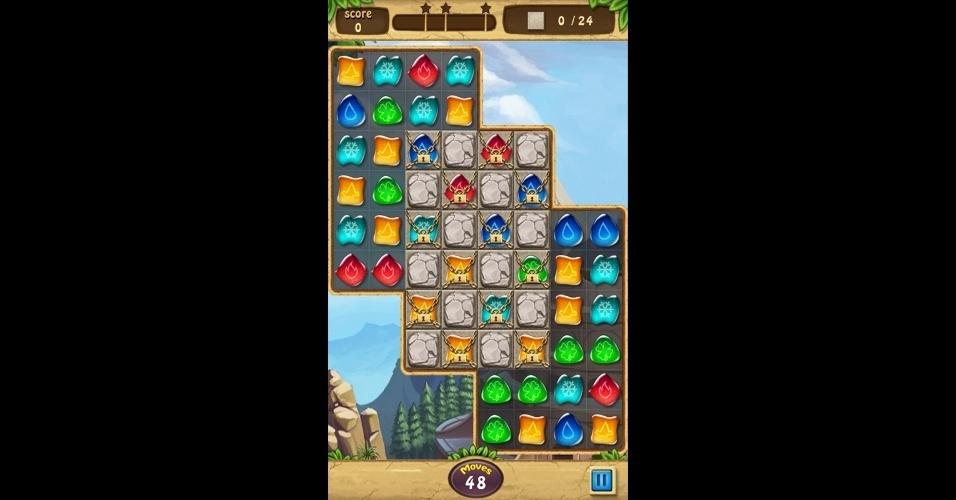 """""""Gems Journey"""" está disponível para Android e traz mais de 160 fases e três modos de jogo."""