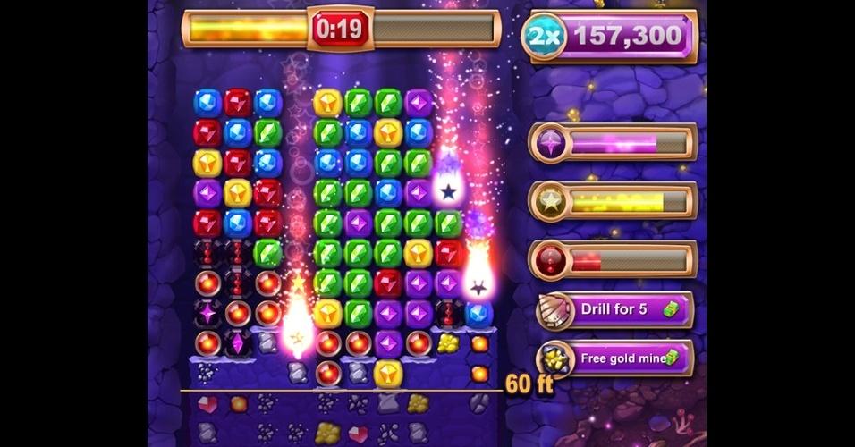 """""""Ruby Blast"""", disponível para iOS, Android e Facebook, é um puzzle da Zynga, produtora de """"FarmVille""""."""
