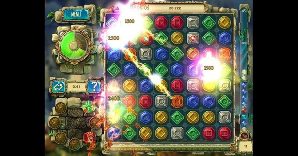 """""""The Treasure of Montezuma 3"""", para iOS, Android e Windows 8, traz os desafios de combinar e eliminar pedras, tudo dentro de 60 segundos por rodada."""