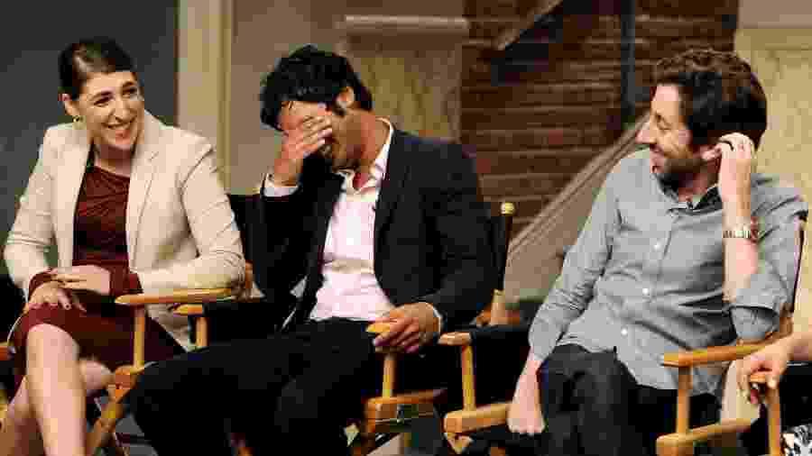 "Os atores Mayim Bialik (Amy), Kunal Nayyar (Raj) e Simon Helberg (Howard) estão entre os protagonistas de ""The Big Bang Theory"" - Getty Images"