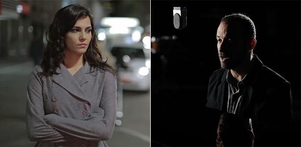 A atriz Tainá Muller em clipe do compositor Lucas Santtana (à direita)